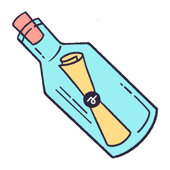 An illustrated message in a bottle with the Story 2 logo on the outside.
