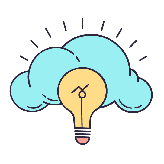 An illustrated lightbulb with the Story 2 logo. Around the top of the lightbulb is a bright puffy cloud.