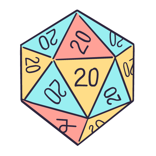 An illustrated Dungeons and Dragons-inspired dice. A singular die with twenty sides with the number 20 on all sides to represent rolling a natural 20 which is the best number you can roll in  the game.